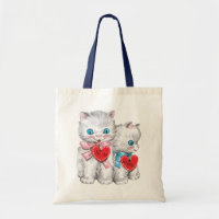 Vintage Cute Valentine's Day Cats, Fluffy Kittens Tote Bag