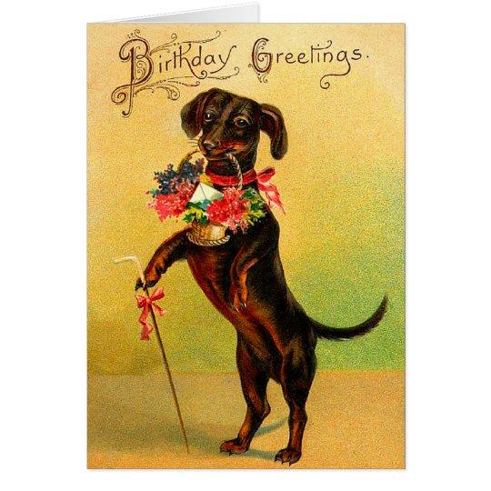 Vintage Dachshund Birthday Card