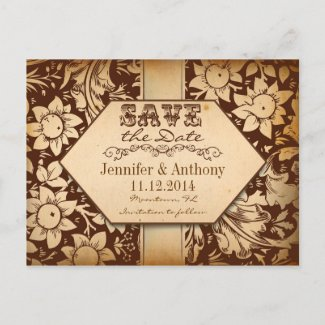 vintage damask brown save the date post cards