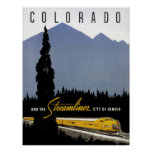 Vintage Denver Colorado Railroad Travel Poster