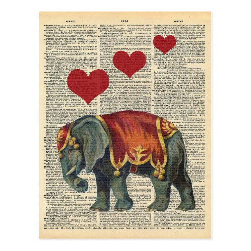 Vintage Dictionary Art Circus Elephant Love Postcard