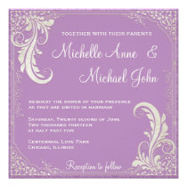 Vintage Distressed Violet Purple Wedding Invite