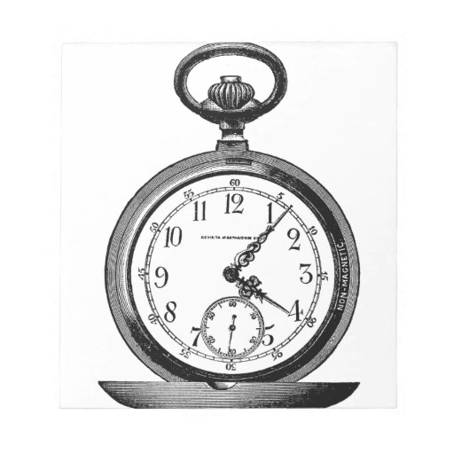 Vintage drawing OF pocket watch (19th century) Notepad