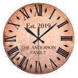 Vintage Elegant Family Name Roman Numeral Rustic Large Clock