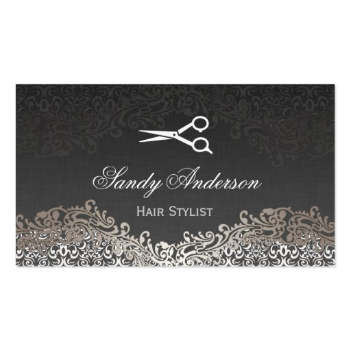 Vintage Elegant Silver Damask  Indie Hair Stylist Business Card  Zazzle