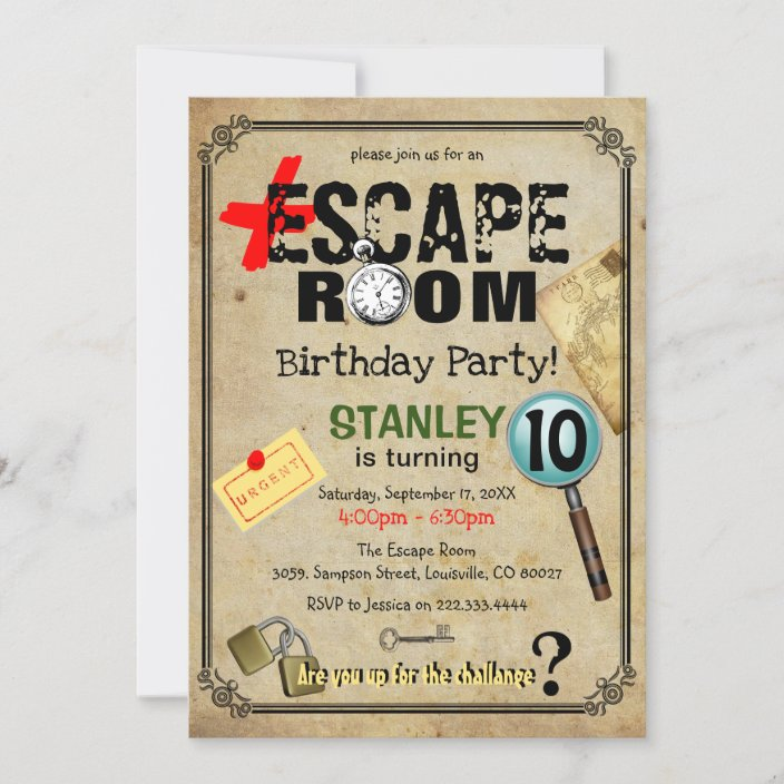 vintage escape room mystery birthday party invitation zazzle com
