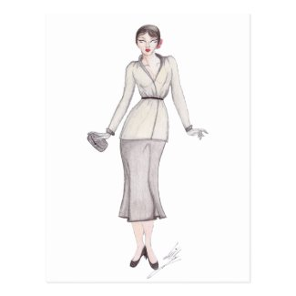 Vintage Fashion Illustration - 1930s day wear Postcards