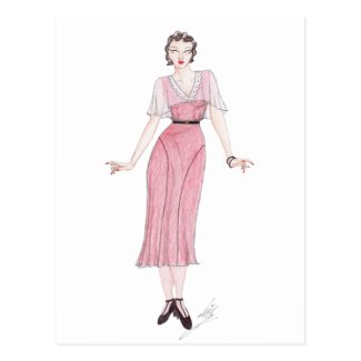 Vintage Fashion Illustration - 1930s tea dress Postcards