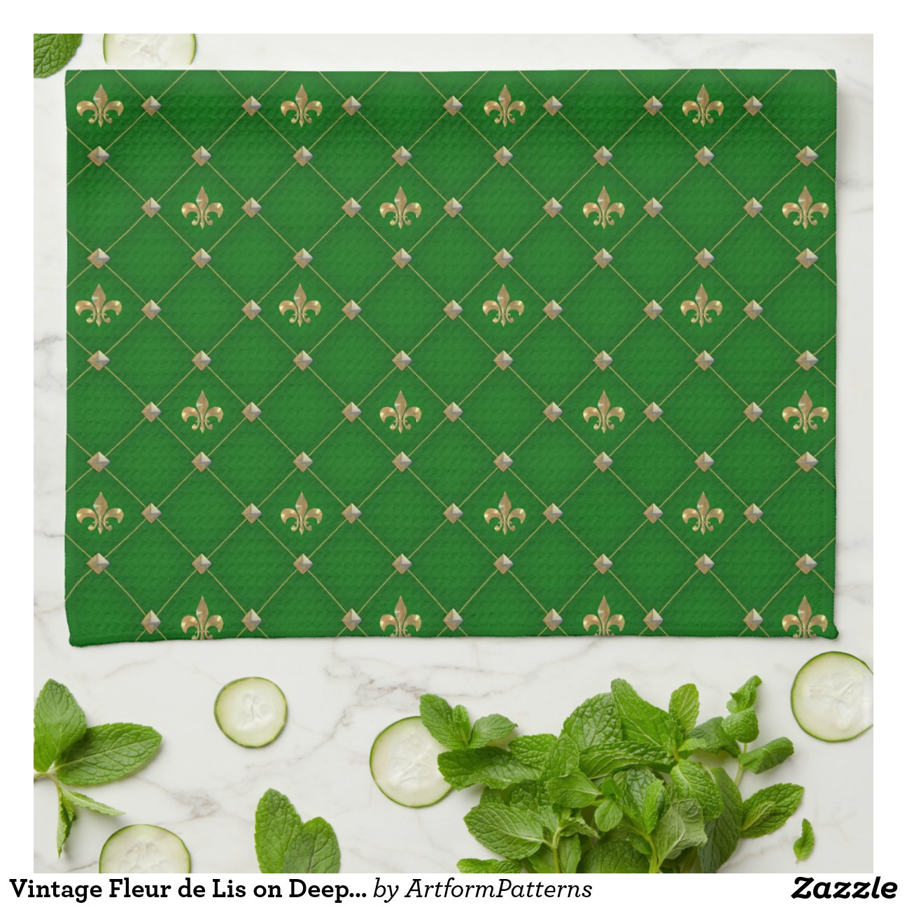 green kitchen towels decorative vintage fleur de lis on deep dark pattern hand