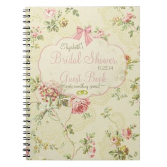 Vintage Floral-Bridal Shower Guest Book- Spiral Notebook