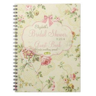 Vintage Floral-Bridal Shower Guest Book- Spiral Notebook