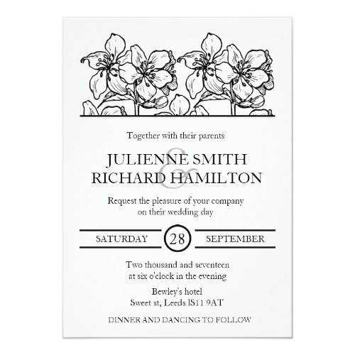 Vintage Floral Chic Black and White Wedding Invitation