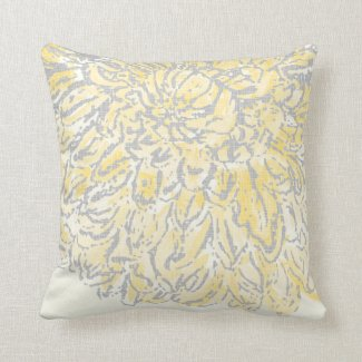 Vintage Floral Chrysanthemum Gray and Yellow Pillow