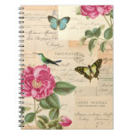 Vintage floral notebook with roses and butterflies