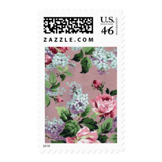 Vintage Floral Wallpaper Postage stamp