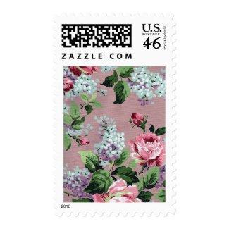 Vintage Floral Wallpaper Postage stamp