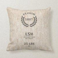 Vintage Flour Sack Throw Pillow | Zazzle