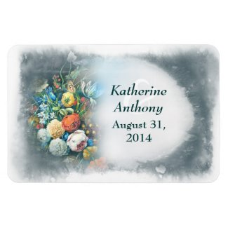 vintage flowers painting save the date magnets