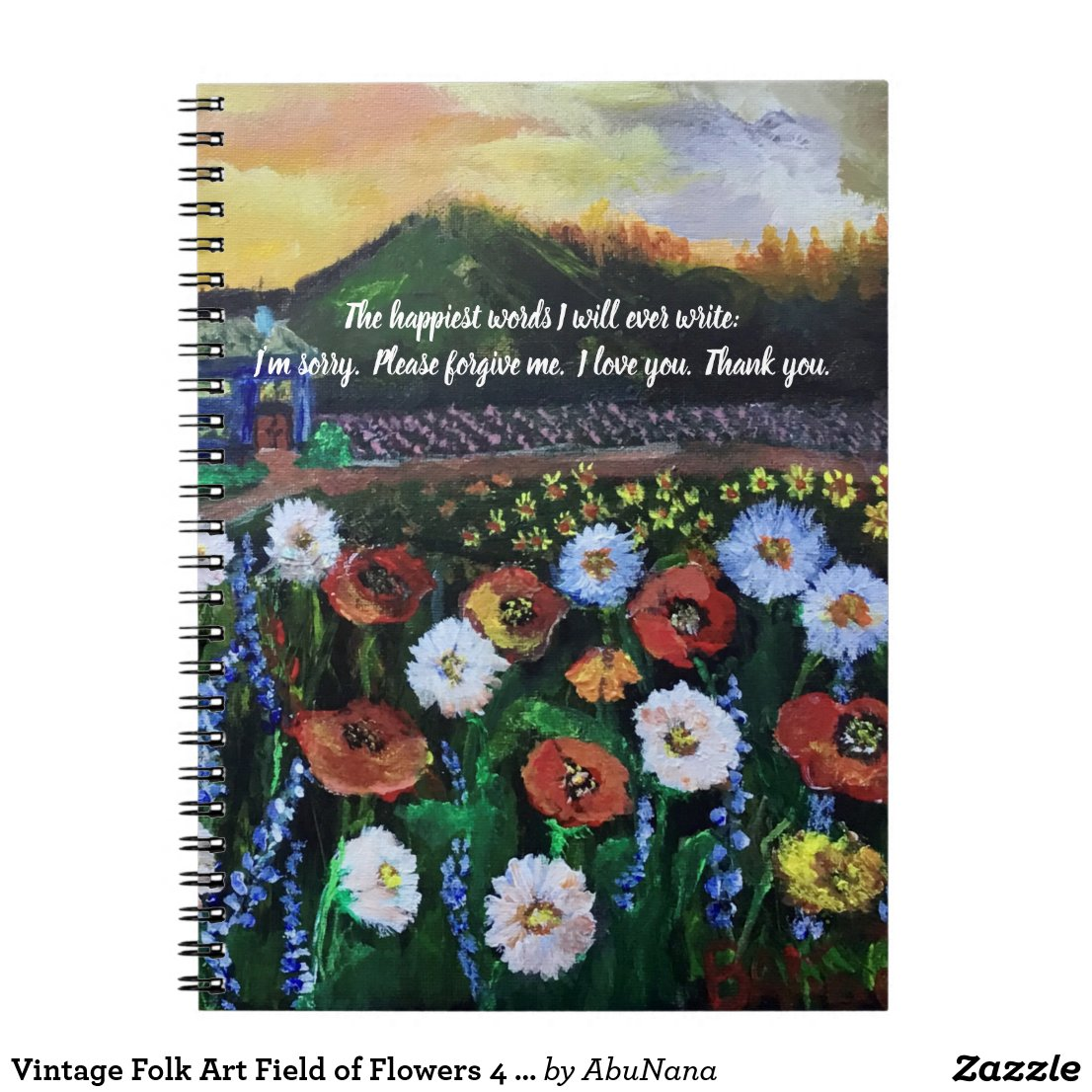 Vintage Folk Art Field of Flowers 4 Editable Quote Notebook