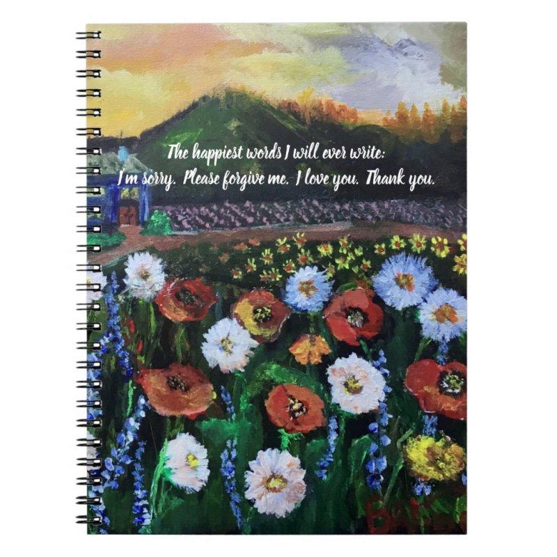 Vintage Folk Art Field of Flowers 4 Editable Quote Notebook