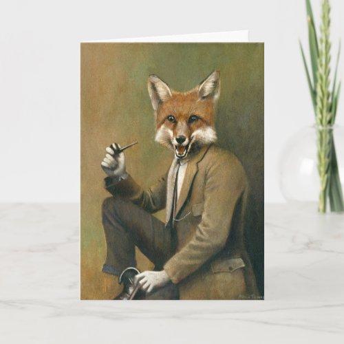 Vintage Fox In Suit Greetings Card