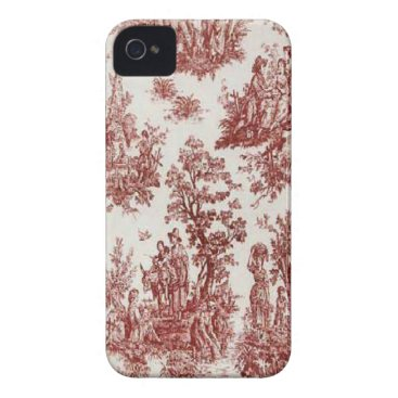 Vintage French Country Red Toile Blackberry Bold iPhone 4 Case-Mate Case