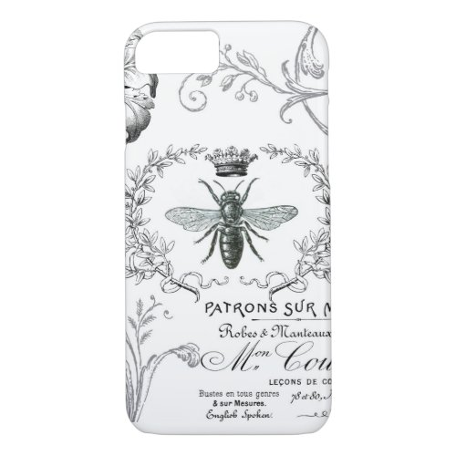 Vintage French Queen Bee iPhone Case by DESIGNS BY HEATHER MYERS