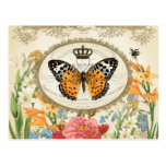 ❤️ Vintage French Shabby Chic  Buttefly postcard