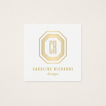Vintage Gold Art Deco Monogram Gold/White Square Business Card
