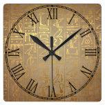 Vintage Gold Egyptian Hieroglyphics Paper Print Square Wall Clock