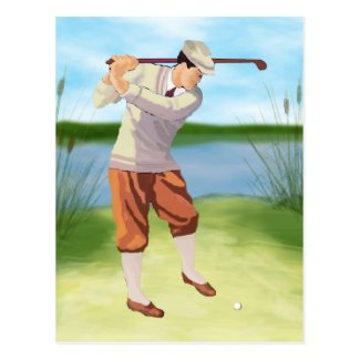Vintage Golfer by Riverbank Postcard