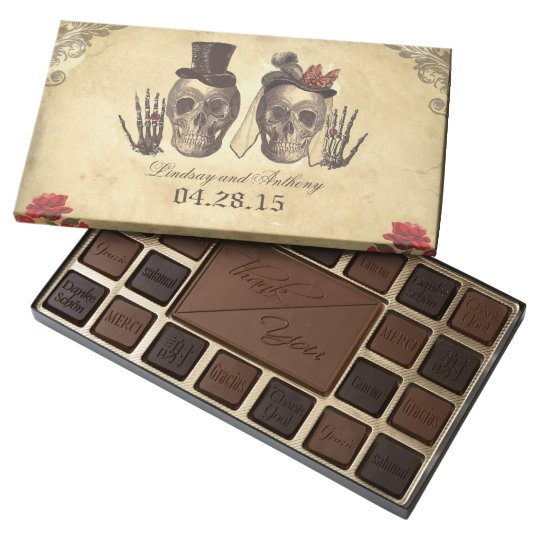 Vintage Gothic Skeleton Couple Wedding Chocolate