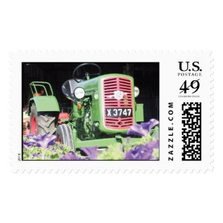 Vintage Green Tractor Purple Flowers Postage Stamps