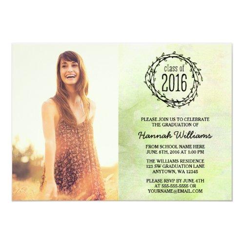 Vintage Green Vines 2016 Photo Graduation 5x7 Paper Invitation Card
