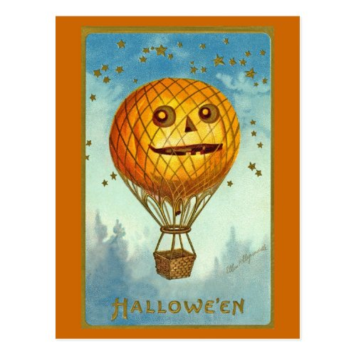 Vintage Halloween JOL Hot Air Balloon Postcard
