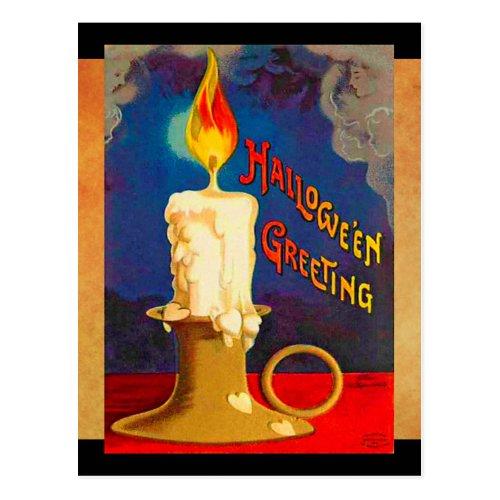 Vintage Halloween Magic Candle Postcard