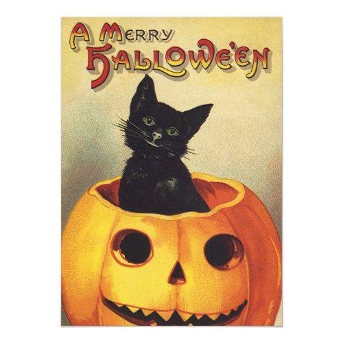 Vintage Halloween Pumpkin Carving Party Invitation