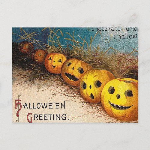Vintage Halloween pumpkin Holiday postcard