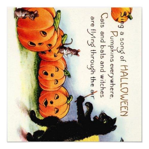 Vintage HALLOWEEN Singing Pumpkins Cat Invitation