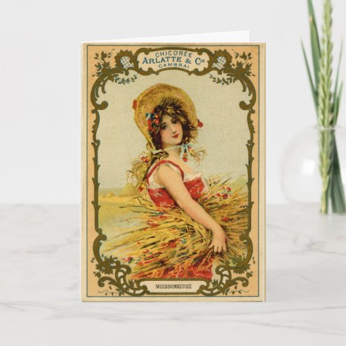 Vintage Harvest Girl Holiday Card