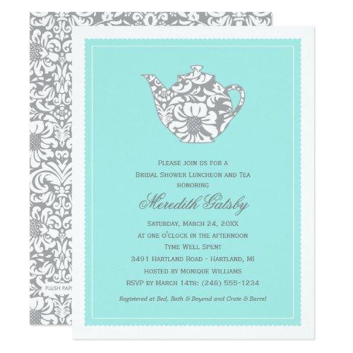 Vintage High Tea Party   Aqua Blue Bridal Shower Invitation