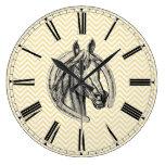 Vintage Horse Cameo Patterned Background Large Clock