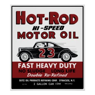 Vintage Hot-Rod Motor Oil tin can design print