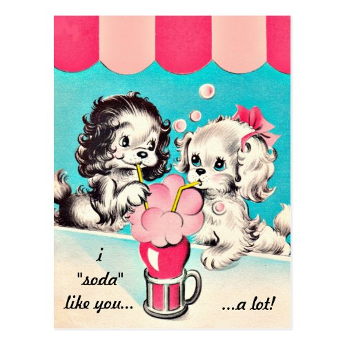 I Soda Like You Vintage Valentine Postcard