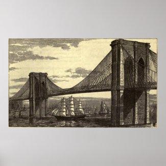 Vintage Illustration of The Brooklyn Bridge (1879) Poster