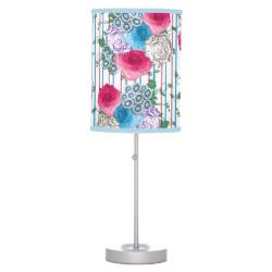 Vintage Inspired Floral Stripe Print Pink Blue Mix Desk Lamp