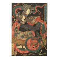 Vintage Japanese Red and Green Dragon Wood Wall Art