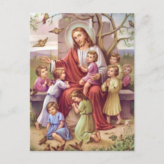 Vintage Jesus With Children Holiday Postcard Zazzle Com