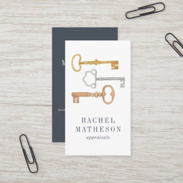 Vintage Key | Real Estate Appraiser Vertical Business Card