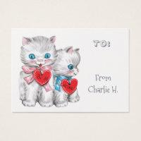 Vintage Kittens Classroom Valentine's Business Card